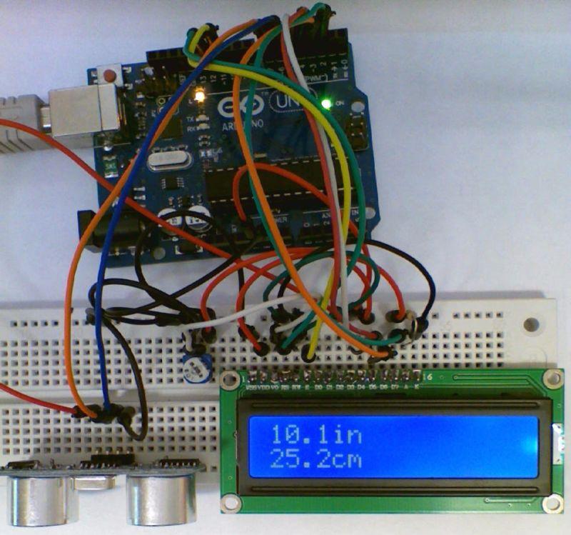 arduino 1602 lcd distance