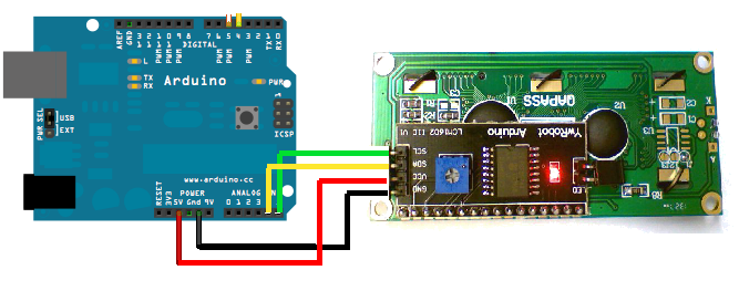 Arduino i2c display example code